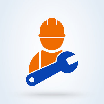 Service Person, worker in gear. Simple modern icon design illustration