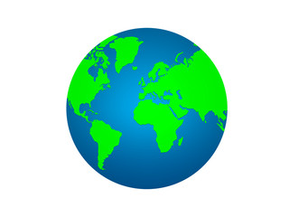Earth planet globe on white background. world icon symbols. Very beautiful blue planet.Perspective from space. high resolution for used