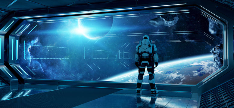 Astronaut in futuristic spaceship watching space through a large window 3d rendering elements of this image furnished by NASA