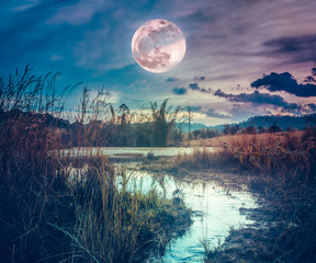 Fototapete - Landscape at night time in the forest lake with fogy and darkness sky super moon in the background.