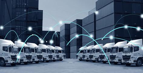 Fototapeta Transportation concept of technology motion background in blue tone. obraz