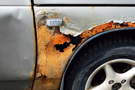rust on the car.