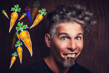 man with rabbit teeth loves carrots