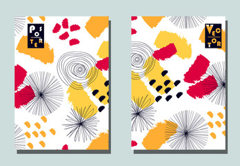 Cover with graphic elements - abstract shapes: circles and lines. Two modern vector flyers in avant-garde  style. Geometric wallpaper for business brochure, cover design.