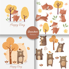 Cute baby fox and bear seamless pattern, for fabrics, textiles, children's wear, wrapping paper,vector illustration