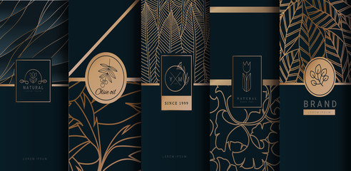 Collection of design elements,labels,icon,frames, for logo,packaging,design of luxury products.for perfume,soap,wine, lotion.Made with Isolated on black background.vector illustration