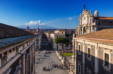 Catania, Sicily: aerial view of the city center with Etna Mount on background
