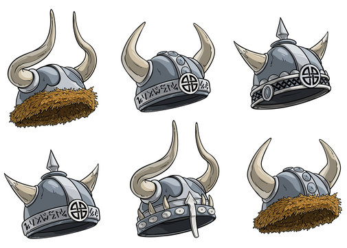 Cartoon metal viking warrior helmet with horns, fur and runes. Isolated on white background. Vector icon set. Vol. 2