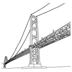 golden gate bridge vector illustration sketch doodle hand drawn with black lines isolated on white background