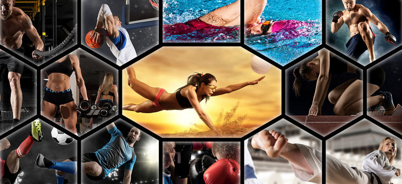 Sport collage. Swimming, soccer, fitness, bodybuilding, volleyball beach, fighter and basketball players