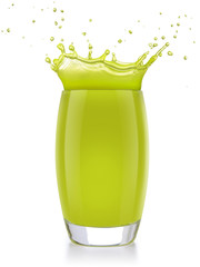 Wall Mural - green juice splashing out of a glass isolated on white