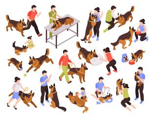 Fototapeta People And Dogs Set