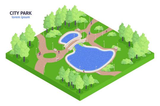 Isometric City Park Composition
