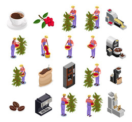 Coffee Industry Isometric Icons Set