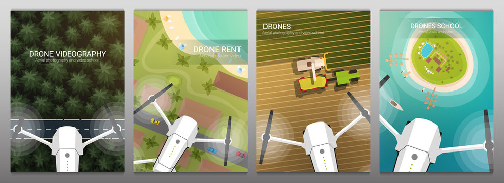 Set of banners. Drone flying over the forest, sea and beach, field and harvesting. Aerial Drone taking photography and video.