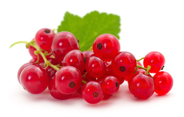 Red currants with green leaves.