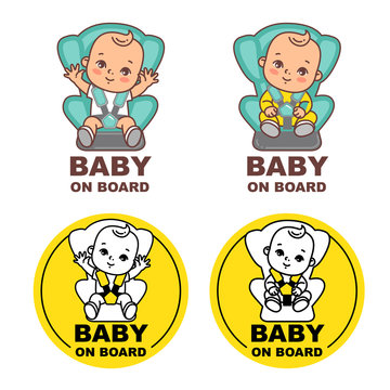 Baby sitting on car seat. Sticker for car.