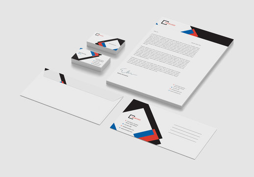 Stationery Set with Red, Blue and Black Accents