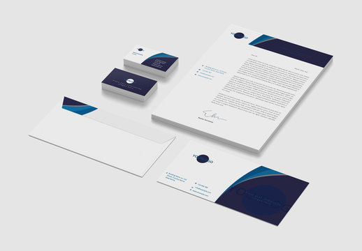 Stationery Set with Blue Curve Accents