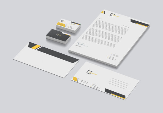 Stationery Set with Yellow and Grey Accents