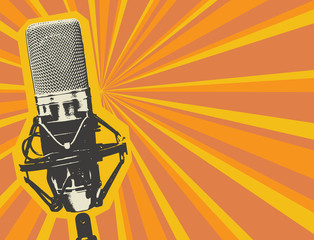 Vector banner with studio microphone on the abstract background with orange rays in retro style. Professional sound recording equipment. Suitable for banner, ad, poster, invitation to karaoke party