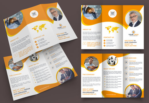 Trifold Brochure Layout with Orange and Yellow Accents
