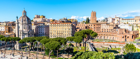 Trajan's Column, Church of the Most Holy Name of Mary and Trajans Market, Italian: Mercati di Traiano, Rome, Italy