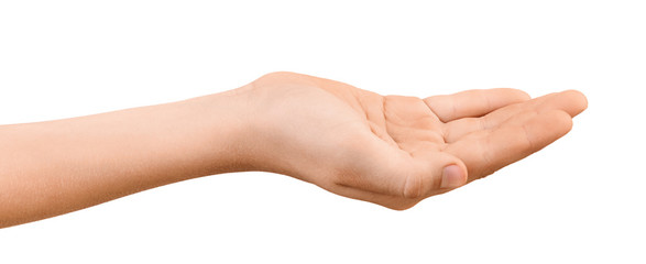 Young outstretched hand with open empty palm up isolated on white background. Hand palm up to show or receive objects. Wall mural