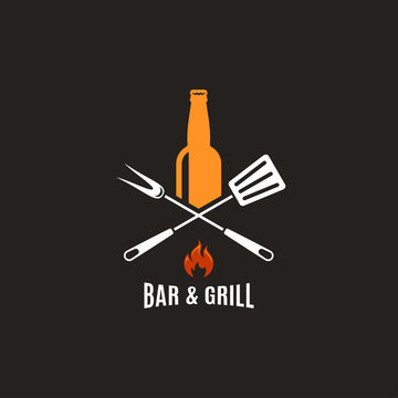 Beer bottle with grill tools. Bar and grill logo.