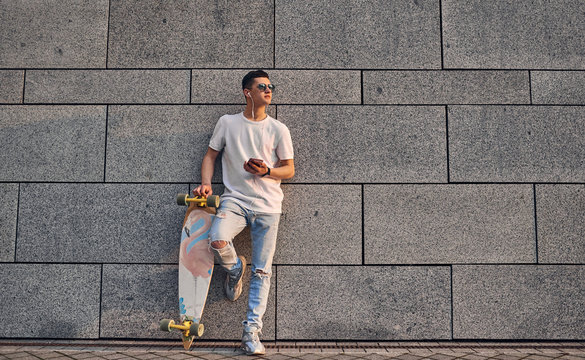 Young guy with longboard