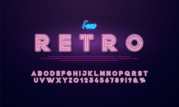 Bright Neon Alphabet Letters, Numbers and Symbols Sign in Vector.