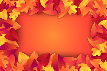 Autumn background with orange and red leaves. Free space for text. Vector illustration.