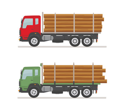 Two logging trucks on the road. Isolated on white background. Wood production and forestry. Vector illustration.