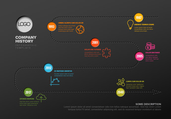 Multicolored Timeline Infographic on Dark Background