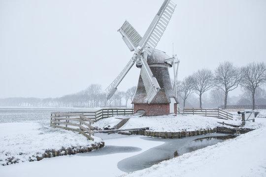 Dutch windmill in snow