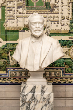Bust of Andrew Carnegie, rich industrial magna who do donated the first check to build the Peace Palace in The Hague, Netherlands