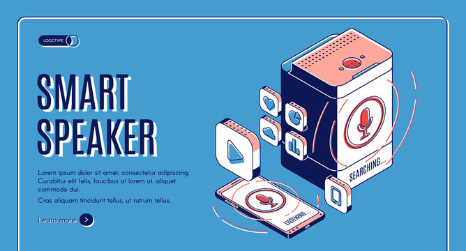 Smart speaker landing page on retro colored background