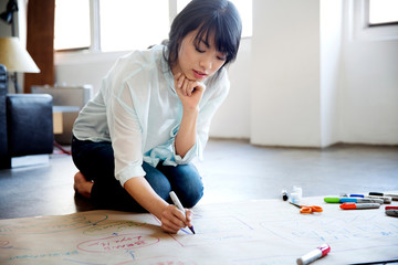 Young woman sitting on floor and making flow charts