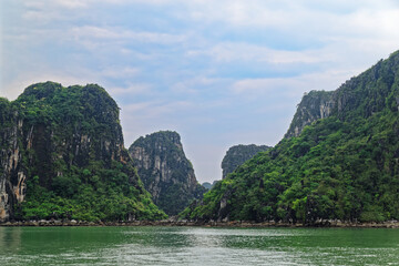 Panoramic view on rocky islands in Vinh Ha Long bay, Vietnam