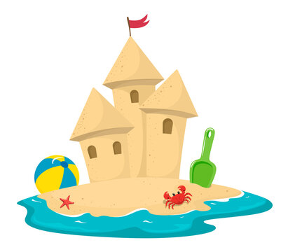 Sand castle surrounded by water with a  crab, spatula and ball. Vector illustration in cartoon style on a white background