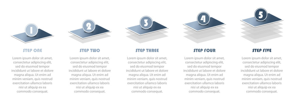 Numbered 5 step infographic illustration showing project progress info graphic