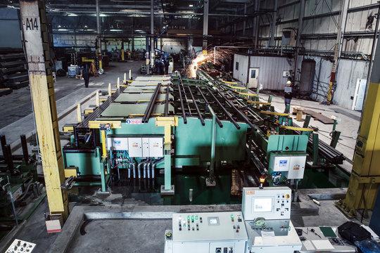 Elevated view of industrial workshop
