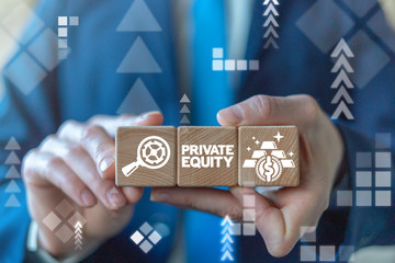 Private equity business finance concept on wooden cubes in businessman's hands. Private Equity.
