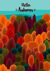 Autumn design with autumn forest. Vector template for card, poster, flyer, cover and other use