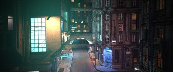 Fotomurales - Photorealistic 3d illustration of the futuristic city. Wallpaper in the style of cyberpunk. Empty street with neon lights. Beautiful night scene.  A huge glowing billboard on the wall of a building.