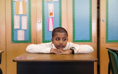 School student (8-9) sitting at desk
