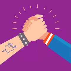 Vector symbols with hands_Subculture handshake greeting friends