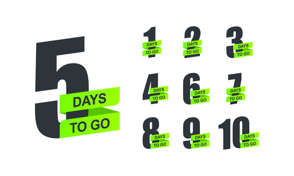 Number 1, 2, 3, 4, 5, 6, 7, 8, 9, 10 of days left to go Collection badges sale landing page banner