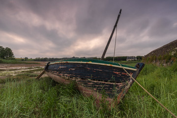 abandoned boat in the brush