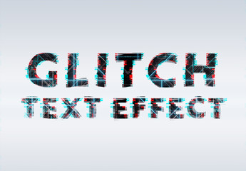 Glitch Neon Text Effect Mockup